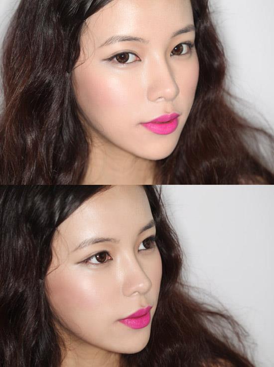Son môi ysl màu hồng cánh sen khi đánh lên môi